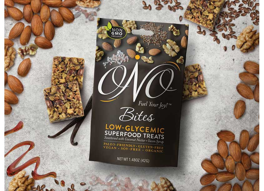 ONO Bites Package Design by Jess Glebe Design + C.R. Copywriting