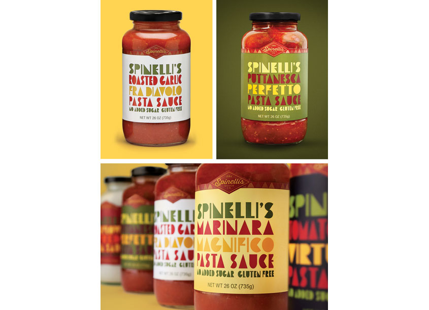 Spinelli's Package Design by Ellen Bruss Design