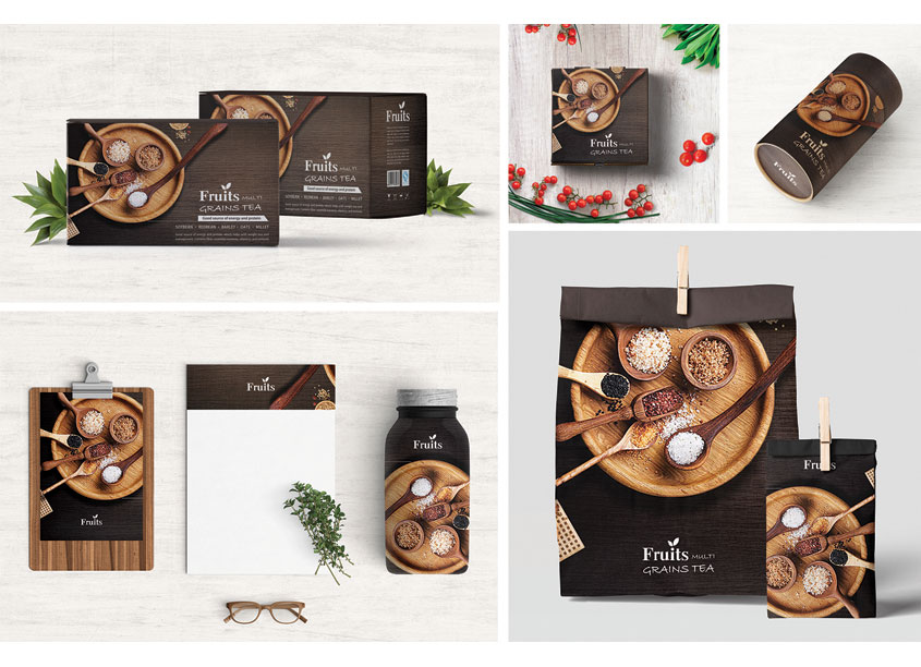 Min Lu Multigrain Tea Package Design