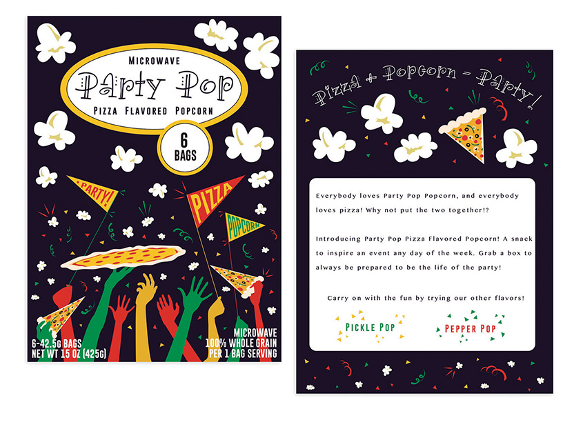 Party Pop Pizza Flavored Popcorn Package Design by Savannah College of Art and Design (SCAD)