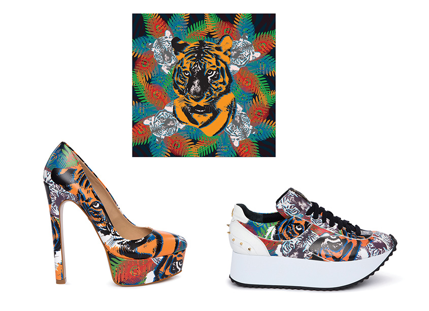 80east Design 'Rajah' Print for Pumps and Sneakers