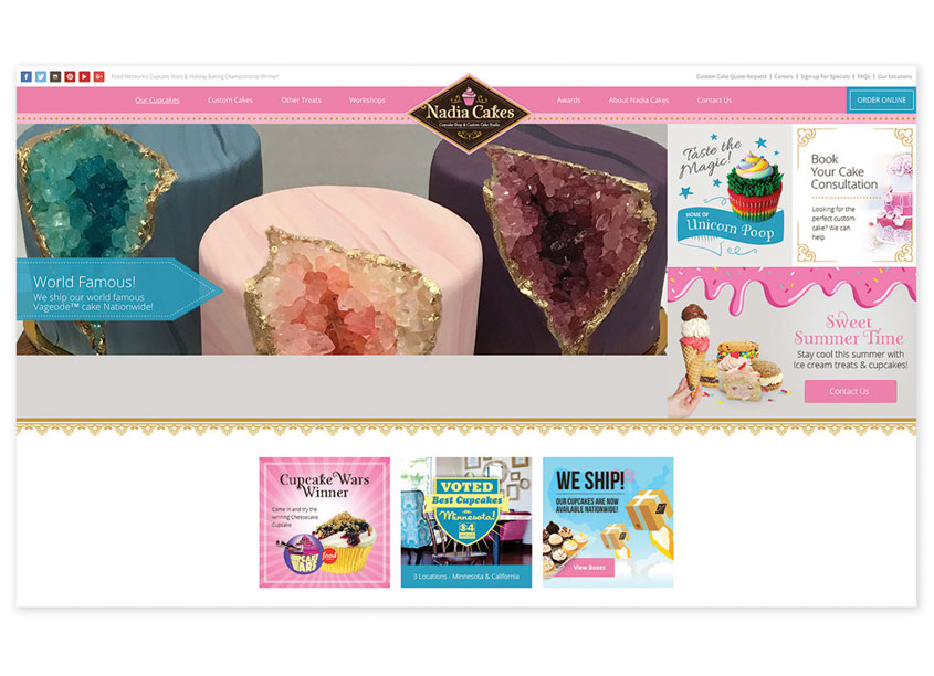 Prime Advertising & Design  Nadia Cakes Website