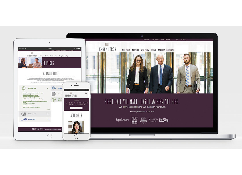 Peter Hill Design  Henson Efron Law Firm Website