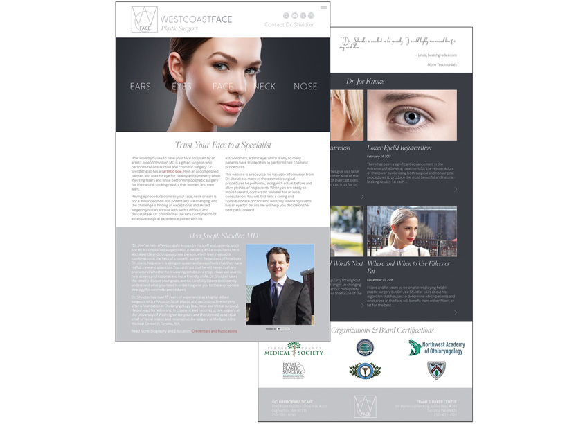 Wilford Design Inc.  West Coast Face Plastic Surgery Website