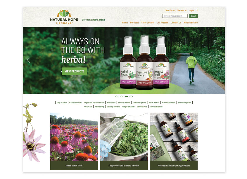 Back Forty Creative  Natural Hope Herbals Website
