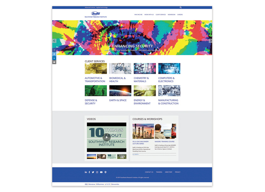 Southwest Research Institute (SwRI) Website by Southwest Research Institute, Media Production Services
