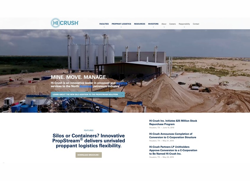 Hi-Crush Inc. Corporate Website by Curran & Connors