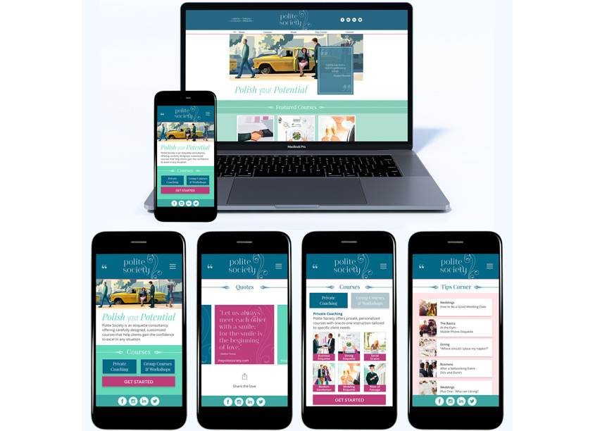 Polite Society Mobile First and Website by Lu Hickman Creative Co.