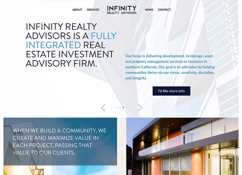 Olive + Spark Design Studio Infinity Realty Advisors Website Design