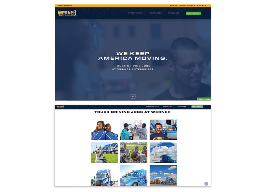 Werner Enterprises DriveWerner.com Website Redesign