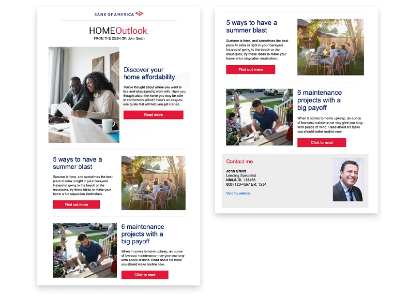 Bank of America Enterprise Creative Solutions Home Loans Newsletter
