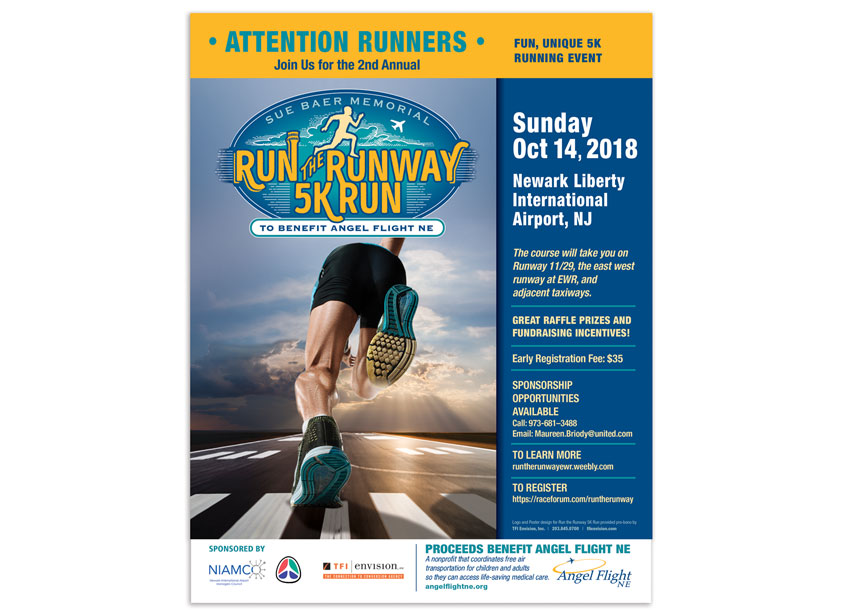 Susan Baer Memorial Run the Runway 5k Run Poster 2018 by TFI Envision, Inc.