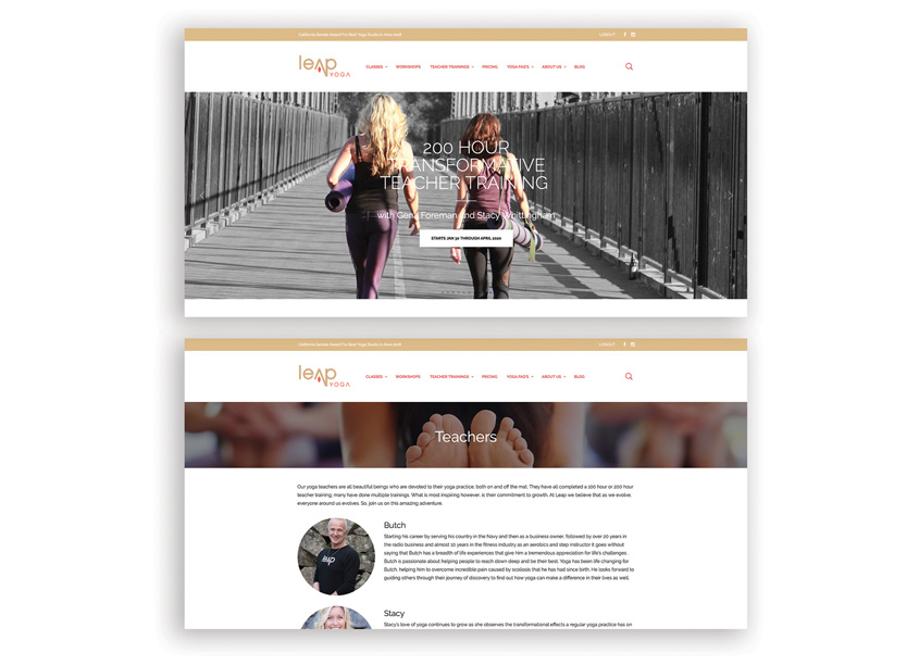 MiDESign and Marketing Consultancy Leap Yoga Website Design