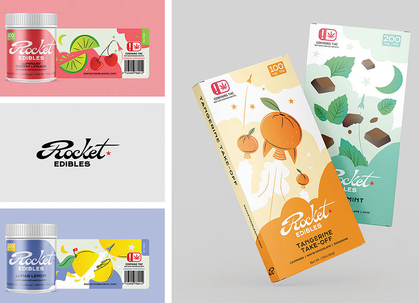 Rocket Edibles Package and Label Design by Nominee Design