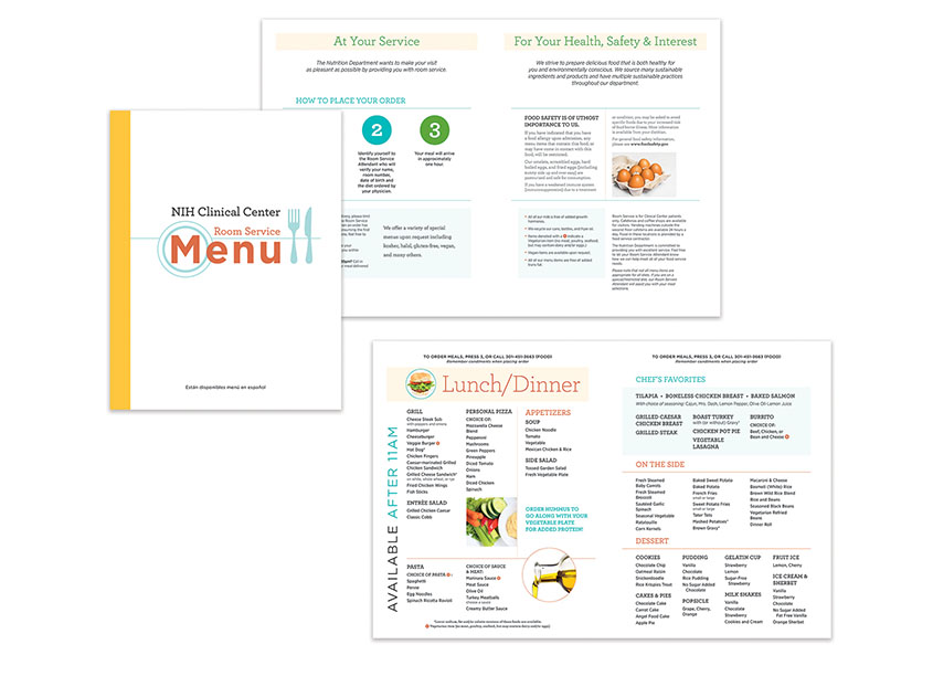 NIH Clinical Center Room Service Menu by National Institutes of Health (NIH) Medical Arts
